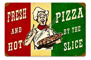 Fresh Hot Pizza Vintage Metal Sign