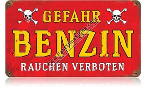 Gefahr Benzin (Danger Gasoline) Metal Sign