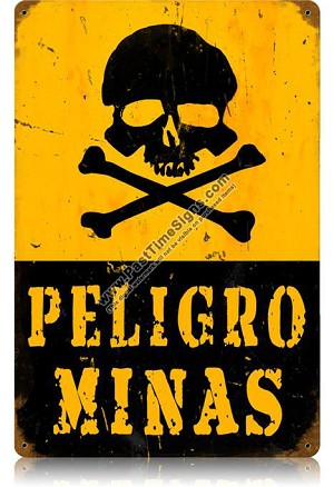 Peligro Minas Vintage Metal Sign