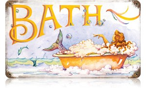 Mermaid Bath Vintage Metal Sign