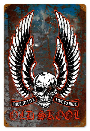 Live to Ride Old School Vintage Metal Sign