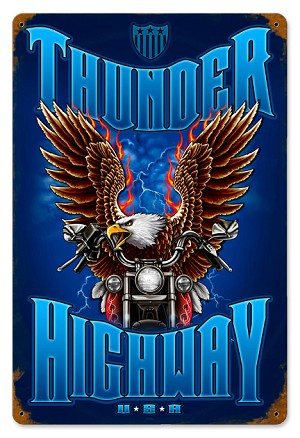 Thunder Highway USA Vintage Metal Sign