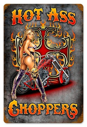 Hot Choppers Vintage Metal Sign