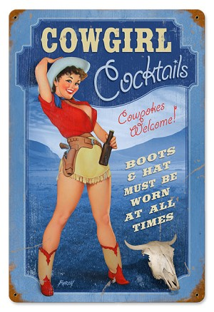 Cowgirl Cocktails Vintage Metal Sign
