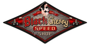 Black Cherry Pin Up Girl Metal Sign