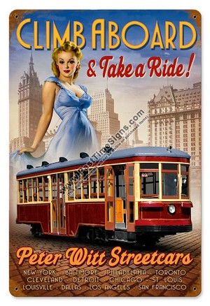 Street Car Pin Up Girl Vintage Metal Sign