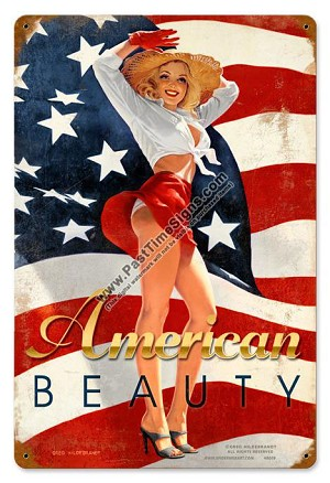 American Beauty Pin Up Metal Sign