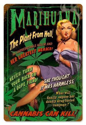 Marihuana Pin Up Vintage Metal Sign