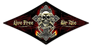 Live Free or Die Skull Metal Sign