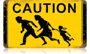 Family Crossing Vintage Metal Sign