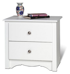 White 2-drawer Night Stand By Prepac