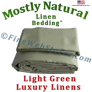 Full Extra Long Size Light Green Bed Linen Sheet Set 300 Thread Count