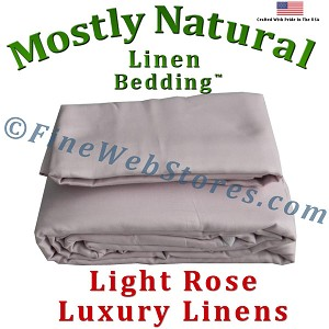 Full XXL Size Light Rose Bed Linen Sheet Set 300 Thread Count