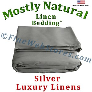 Full Extra Long Size Silver Bed Linen Sheet Set 300 Thread Count