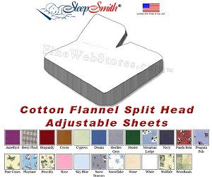 Cotton Flannel Split Head Adjustable California King Bed Sheets