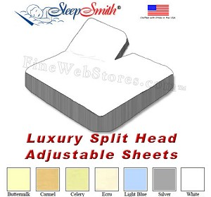 LUXURY Split Head Adjustable California King Bed Sheets 300 Thread Count Sateen 100% Cotton