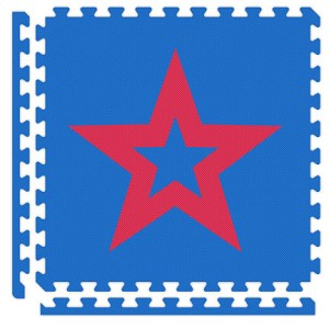 Royal Blue/Red Star Reversible Soft Floor Tile Kit