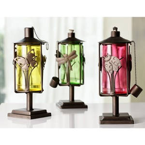 Set Of 3 Butterfly, Dragonfly, And Ladybug Tabletop Oil Lanterns