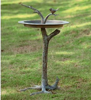 Bird And Twig Sundial Birdbath