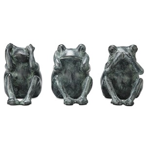 Three Wise Garden Frogs