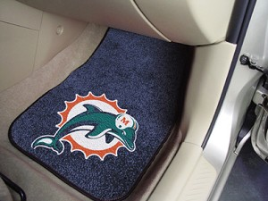 Miami Dolphins Universal Carpet Car Floor Mat, Set Of 2