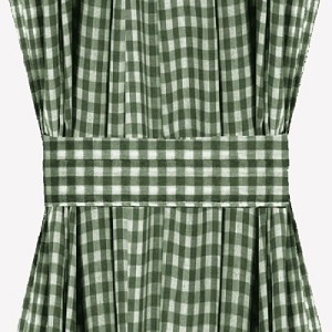 Hunter Green Gingham Check French Door Curtains