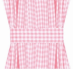 Light Pink Gingham Check French Door Curtains
