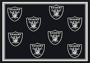 Oakland Raiders Repeat Logo Area Rug 2