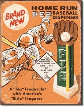 Pez Baseball Dispenser Tin Sign