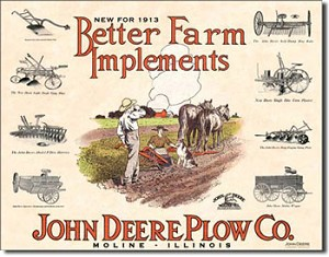 John Deere Farm Implements Tin Sign