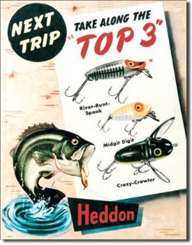 Heddon Top 3 Tin Sign