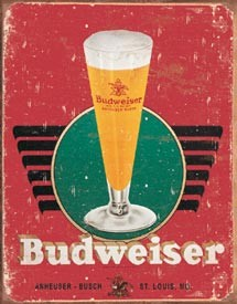 Bud Retro Glass & Logo Tin Sign