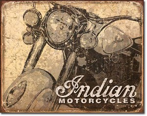 Antiqued Indian Motorcycle Tin Sign