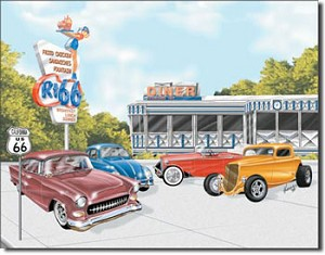 Route 66 Diner Tin Sign