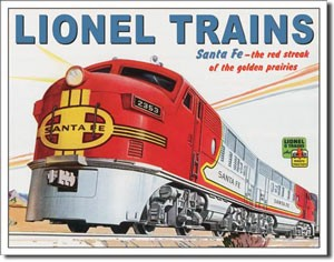 Lionel Trains Santa Fe Tin Sign