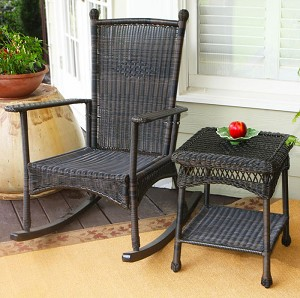 Classic Dark Roast Wicker Outdoor Rocking Chair