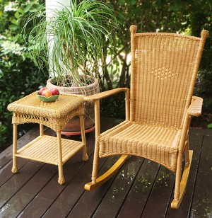 Classic Southwest Amber Wicker Outdoor Rocking Chair