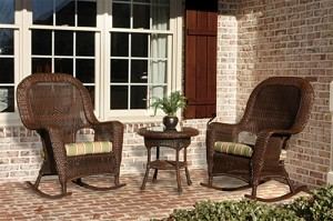 Lexington Synthetic All Weather Wicker 3 Piece Rocker Chair Set