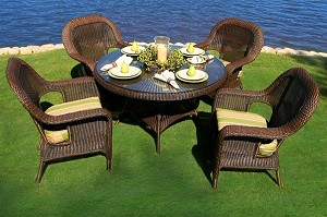 Lexington Synthetic All Weather Wicker 5 Piece Dining Set