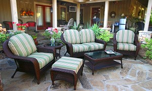 Lexington Synthetic All Weather Wicker 6 Piece Deep Seating Love Seat Set