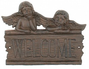 Angel Welcome Iron Sign