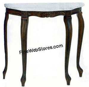 White and Grey Marble Wood Hall Table or Plant Stand