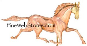 Race Horse Extra Large Three Dimensional Polished Weather Vane