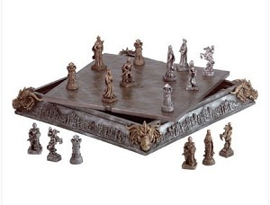 Medieval Dragon Head Chess Set